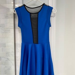 blue dress with mesh in front and back
